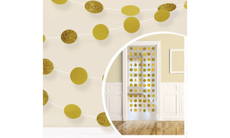 glitter gold polka dot string decorations 6ct - Gold Decorations