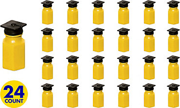Yellow Graduation Cap Mini Bubbles 24ct