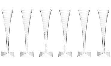 CLEAR Premium Plastic Square Champagne Flutes 6ct