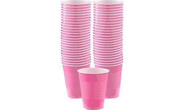 BOGO Bright Pink Plastic Cups 50ct