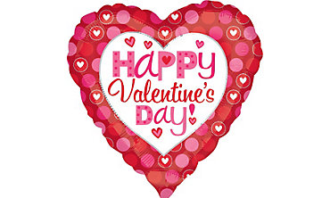 Foil Pink and Red Heart Valentines Day Balloon 32in