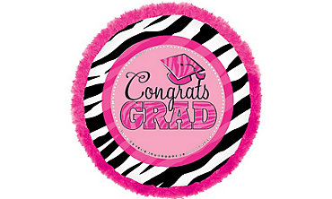 Foil Embellished Zebra Party Graduation Balloon 32in