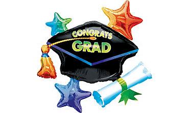 Foil Congrats Grad Star Cluster Graduation Balloon 31in