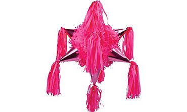 Bright Pink 8-Point Star Pinata