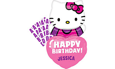 Happy Birthday Hello Kitty Balloon - Personalized Heart