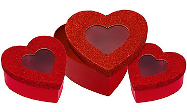 Glitter Heart Window Treat Boxes 3ct