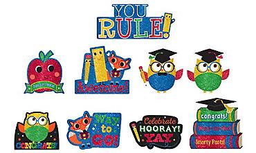 Glitter Schoolhouse Chalkboard Graduation Cutouts 9ct