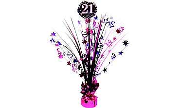 Prismatic 21st Birthday Spray Centerpiece - Pink Sparkling Celebration