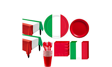 Red, White & Green Tableware Kit for 16 Guests