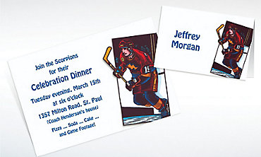 Custom Hockey Card Invitations & Thank You Notes