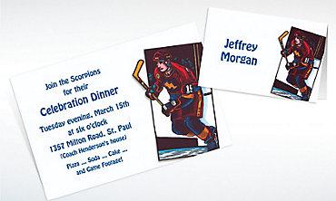 Custom Hockey Card Invitations & Thank You Notes