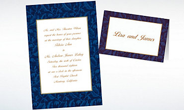 Custom Blue Damask Invitations & Thank You Notes