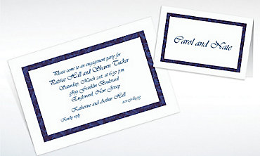 Custom Narrow Navy Damask Invitations & Thank You Notes