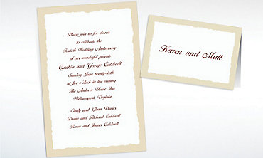 Custom Taupe Deckle Edge Invitations & Thank You Notes