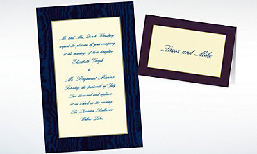 Custom Navy Moire and Ecru Invitations & Thank You Notes