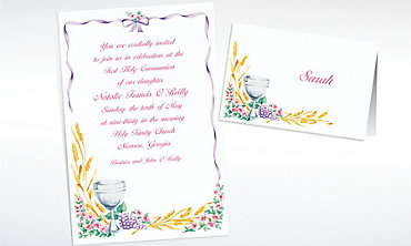 Custom Communion with Flowers Invitations & Thank You Notes