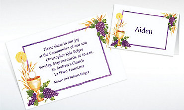 Custom Communion with Grapes Invitations & Thank You Notes
