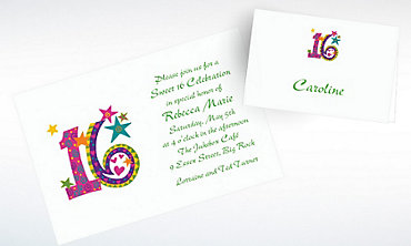 Custom Colorful Sweet 16 Invitations & Thank You Notes