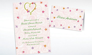 Custom Heart with Flowers Wedding Invitations & Thank You Notes