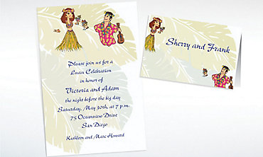 Custom Luau Couple Wedding Invitations & Thank You Notes