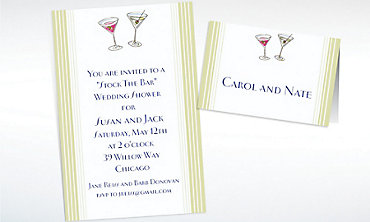 Custom His and Hers Cocktails Wedding Invitations & Thank You Notes