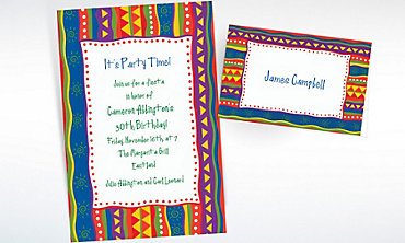 Custom Fiesta Stripes Invitations & Thank You Notes