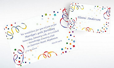 Custom Confetti & Streamers Invitations & Thank You Notes