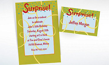 Custom Surprise with Spirals Invitations & Thank You Notes