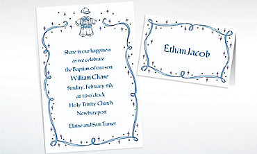 Custom Christening Suit with Blue Ribbon Invitations & Thank You Notes