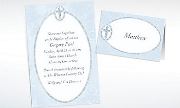 Custom Blue Cross with Filigree Invitations & Thank You Notes