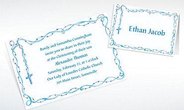 Custom Rosary with Blue Ribbon Invitations & Thank You Notes