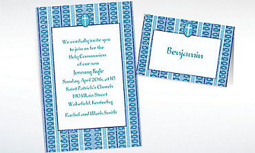 Custom Cross with Blue Stripe Invitations & Thank You Notes