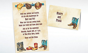 Custom Boots All in a Row Western Invitations & Thank You Notes