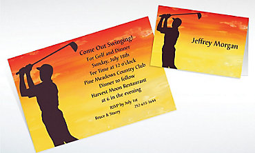 Custom Sunrise Golfer Invitations & Thank You Notes
