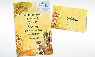 Custom Hunting Dog & Rifle Invitations & Thank You Notes