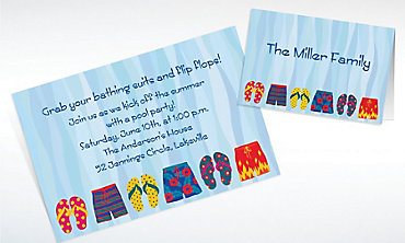 Custom Pool Party Time Invitations & Thank You Notes