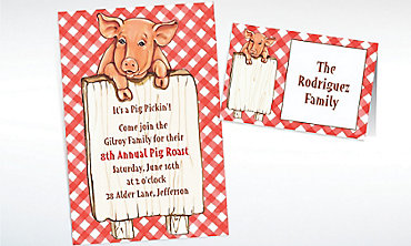Custom Pig with Sign Invitations & Thank You Notes