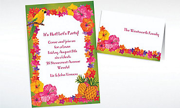 Custom Hawaiian Flower Border Invitations & Thank You Notes