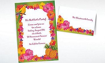 Custom Hawaiian Flower Border Invitations & Thank You Notes