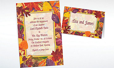 Custom Fallen Autumn Leaves Invitations & Thank You Notes