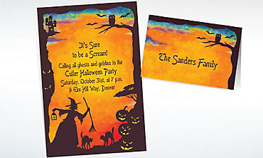 Custom Witchy Halloween Motif Invitations & Thank You Notes