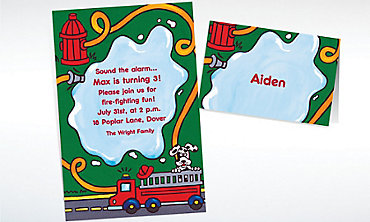 Custom Fire Truck & Hydrant Invitations & Thank You Notes
