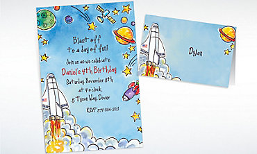 Custom Outerspace Adventure Invitations & Thank You Notes