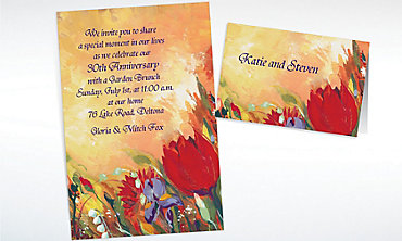 Custom Bouquet in Oil Invitations & Thank You Notes
