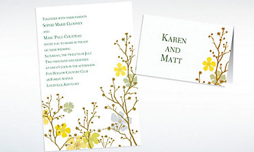 Custom Brilliant Blooms & Branches Invitations & Thank You Notes