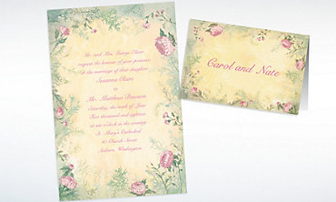 Custom Antique Foliage Invitations & Thank You Notes