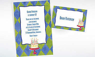 Custom Cake on Diamond Pattern Invitations & Thank You Notes