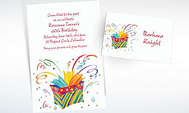 Custom Bursting Gift Bag Invitations & Thank You Notes
