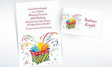 Custom Bursting Gift Bag Invitations & Thank You Notes