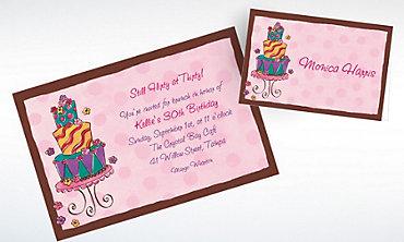 Custom Girly Cake Birthday Invitations & Thank You Notes